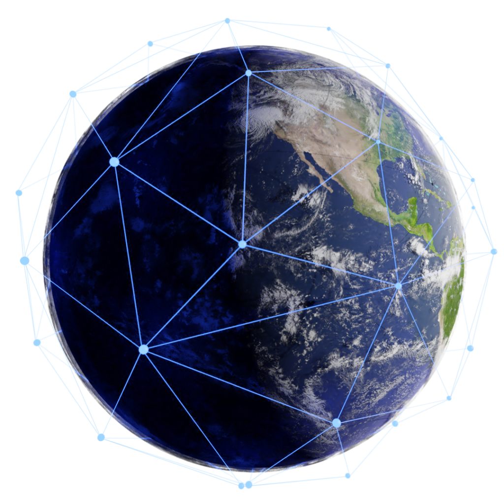 Earth surrounded by connected nodes of light